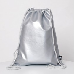 ECO LEATHER SILVER SACK/BAG